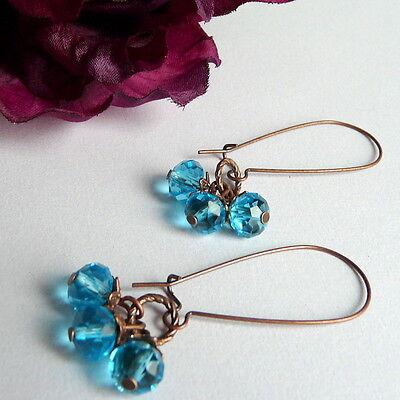 Copper Crystal Earrings - Antique Style Copper Aqua Blue Crystal Cluster Bridal Kidney Wire Long Earrings