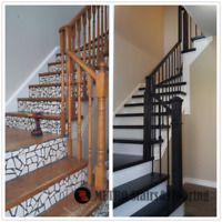 HARDWOOD  STAIRS and WROUGHT IRON BALASTER