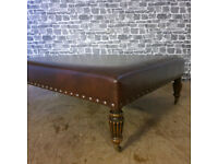 Beautiful Large Brown Leather Footstool