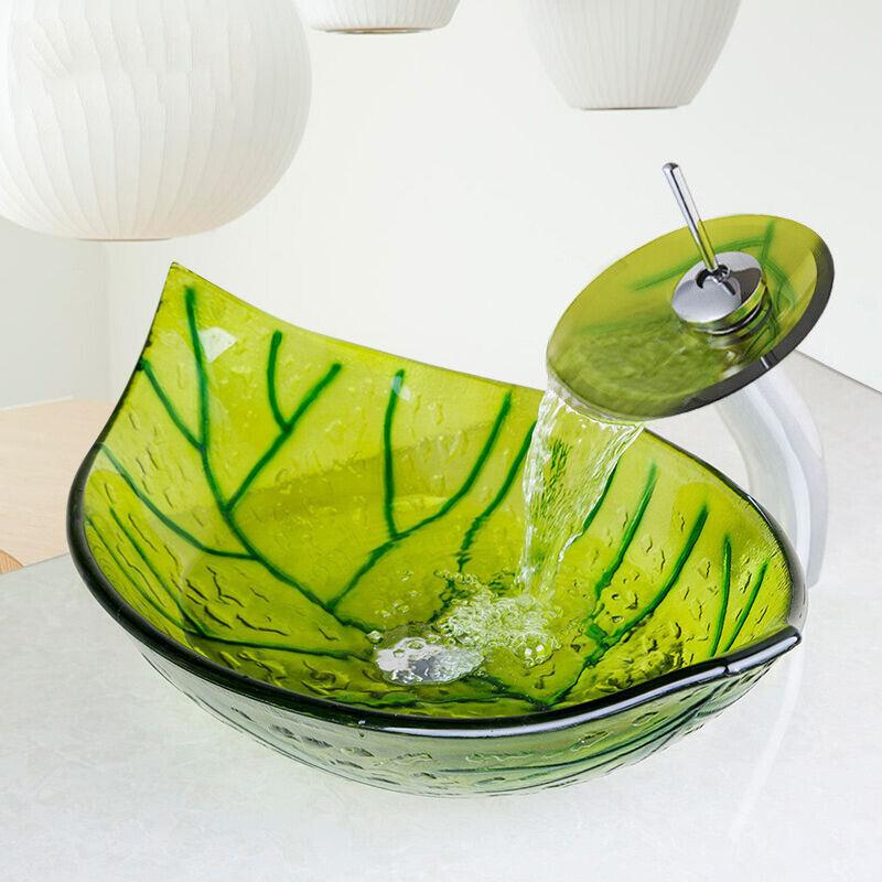 US Bathroom Green Leaf Shaped Glass Vessel Basin Sink/&Bowl Waterfall Faucet  Set