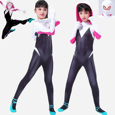 Gwen Stacy Spider Girl Cosplay Costume Spider-Gwen Zentai Suit  For Adult & Kids (Spider Girl Costume Child)