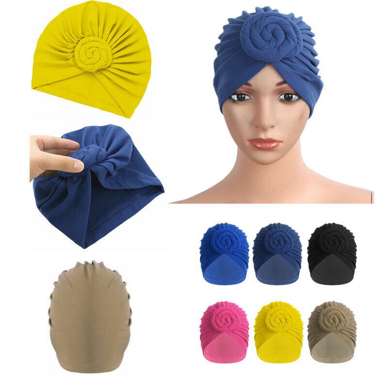 US Cotton Turban Headwrap Knotted Bonnet Beanie Headwear Che
