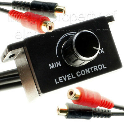 Universal Car Bass Amplifier Remote Level Control Knob Stereo RCA Input & Output ()