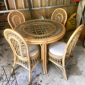 Vintage Mid Century Scandi Boho Tiki Style Cane Bamboo Table & 4 Chair