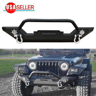 For 87-06 Jeep Wrangler TJ YJ Rock Crawler Front Bumper W/LED Lights&Winch Plate