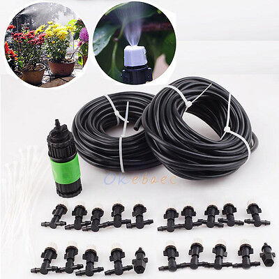 67FT Outdoor Garden Patio Water Misting Cooling Irrigation System 20 Mist Nozzle