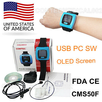 Contec Cms50f Wrist Pulse Oximeter Oled Usb Pc Software Alarm 24h Record