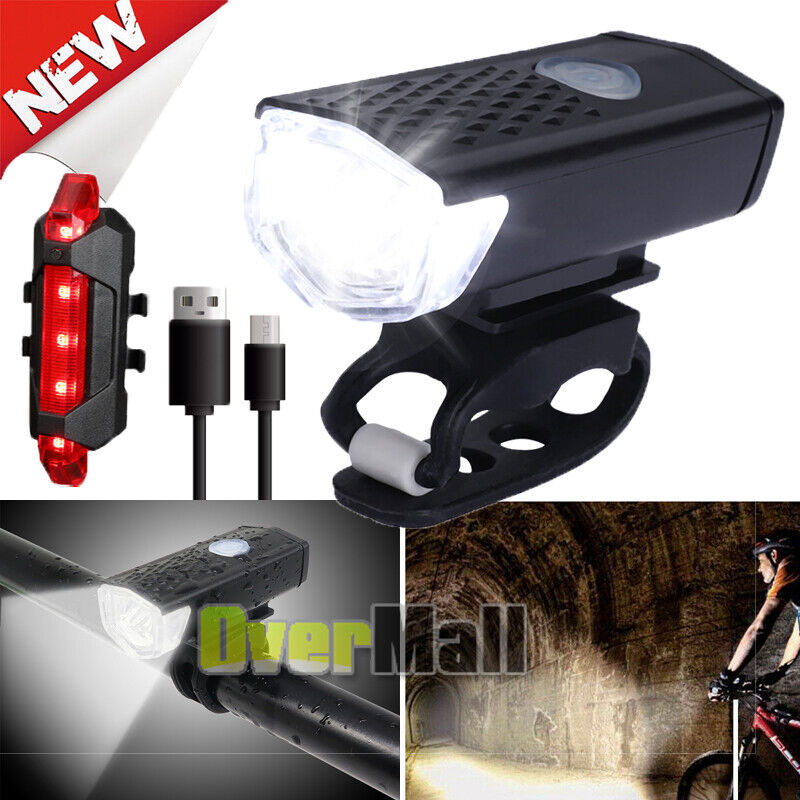 90000Lumen 8.4V Rechargeable Cycling Light Bike Bicycle LED Front Rear Lamp Set