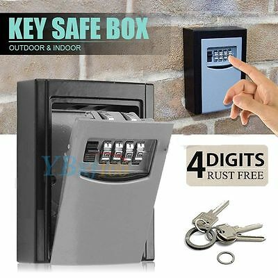 4 Digit Combination Hide Key Lock Box Storage Wall Mount Security Outdoor Case