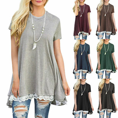 Summer Women Lace Short Sleeve A Line Swing Loose Tunic Top Blouse T Shirt Dress