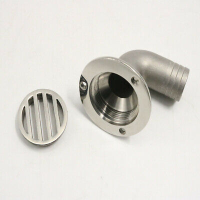1PCS 90D MIRRORED STAINLESS STEEL 1-1/4 INCH BOAT DECK DRAIN BOAT PARTS