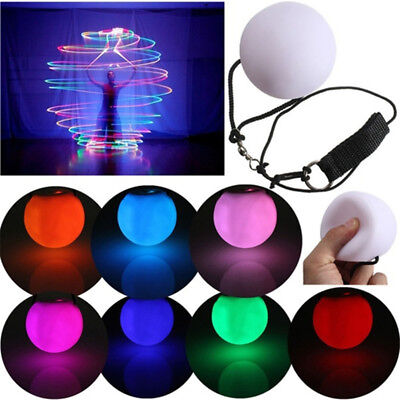 LED Multi-Colour Glow POI Thrown Ball Light up For Belly Dance Hand Props E