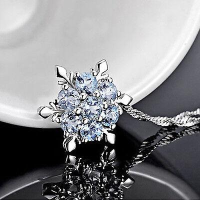 Mädchen Versilberung Crystal Blue Frozen Prinzessin Elsa Schneeflocke Halskette