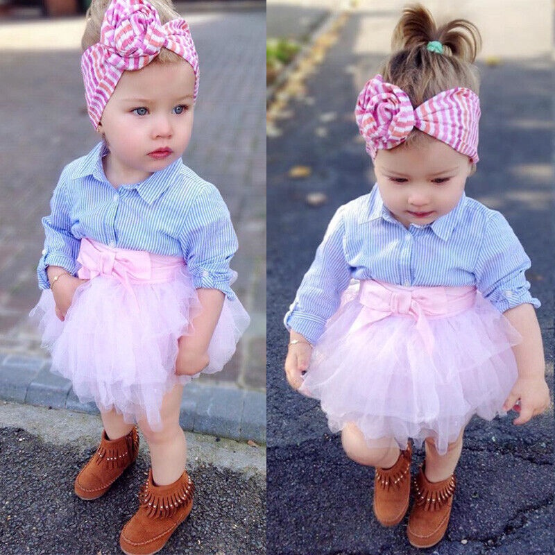 Cute Kid Baby Girl Plaid T-shirt Top Lace Tutu Skirt Outfit Set Clothes US Stock