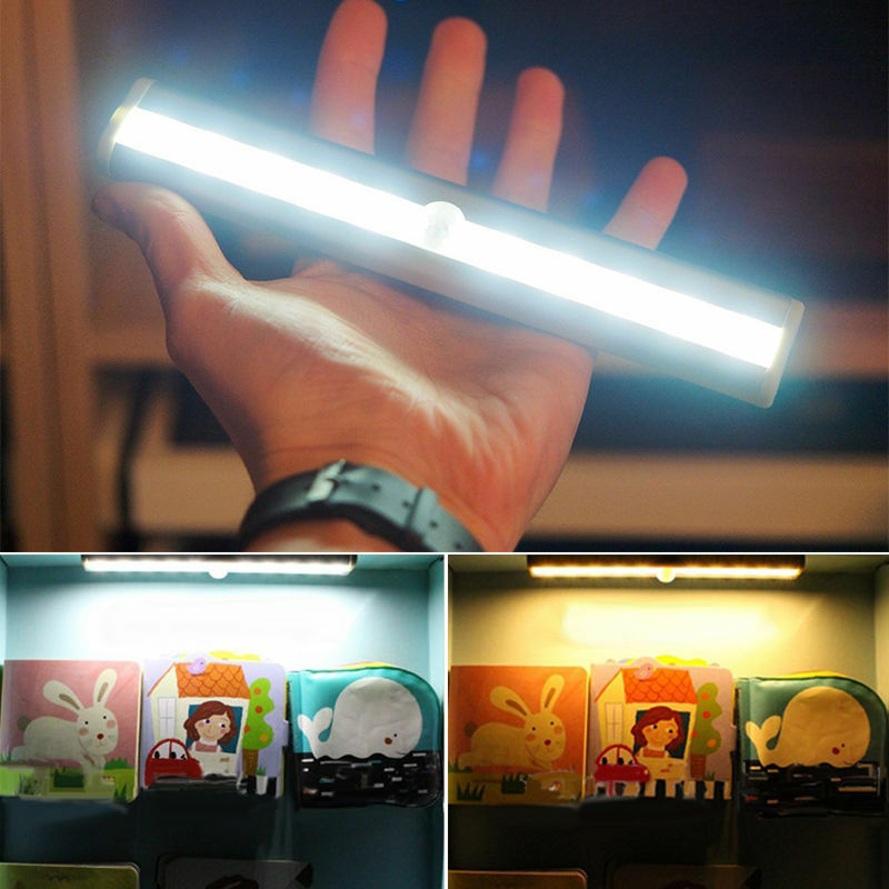 10 LED Light Bar Battery Operated Wireless Motion Sensor Det