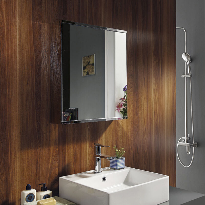 Luxury stainless steel wall mount mirror storage cupboard bathroom cabinet ebay for Bathroom mirror cupboard