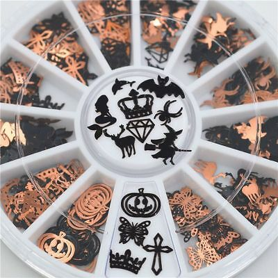 Slices Halloween (Metal Halloween Slice Nail Stickers Foils Wheel Beauty Styling Accessories)