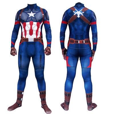Captain America Bodysuit Costume (Captain America Costume Adults Kids Avengers Steve Rogers Zentai)
