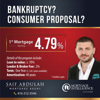⭐1st Mortgage ⭐Bankruptcy? Consumer Proposal? Call: 416-312-3546