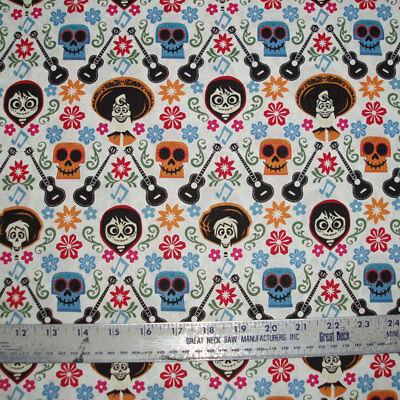 COTTON Fabric Disney COCO  Characters Dia De Los Muertos Calaveras on White BTY