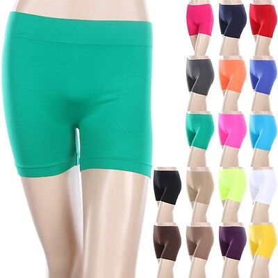 Seamless Basic Plain Solid Athletic Layering BIKER Shorts Leggings Spandex