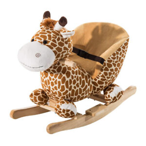 Qaba Wooden Plush Children Kids Rocking Horse Chair for Toddlers
