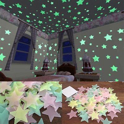 40/100Pcs Wall Stickers Home Decor Glow In The Dark Star Sticker Kids Room Decor