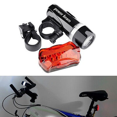 LED Bike Bicycle Set Rear Tail Flashlight Torch Front Head L