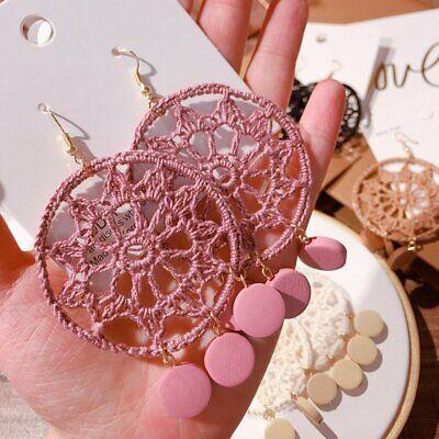 Bohemian Earrings Drop Dangle Dream Catcher Circle Tassel Jewelry Womens Gift - Dreamcatcher Earrings