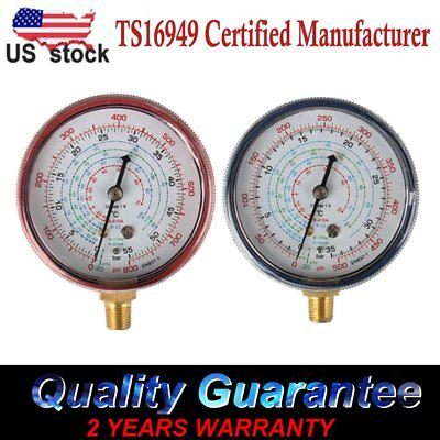 Set of 2 Air Conditioner R410A R134a R22 Refrigerant Low High Pressure Gauge US, used for sale  USA