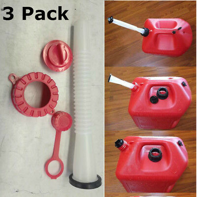 3 Sets Red Rubbermade Replacement Gas Can Spout And Parts Kit Blitz Rubbermaid