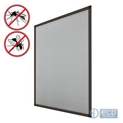 Fliegengitter Braun 120 x 140 cm Fenster Insektenschutz-Fenster Aluminium Rahmen