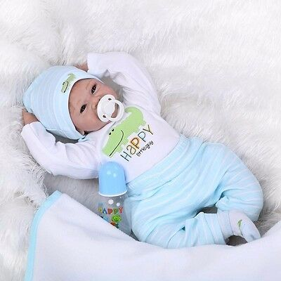 22'' Silicone Vinyl Bebe Reborn Doll Handmade Baby Boy Girl Doll+Clothes Toy US