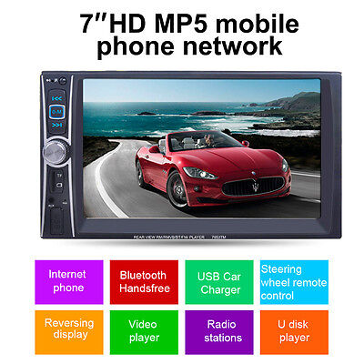 7'' HD Touch Screen 2Din Car Radio MP5 MP3 FM AUX Player Bluetooth USB Interface