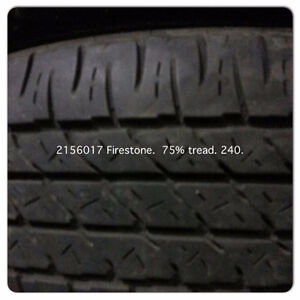 215 60 17 FIRESTONE SET OF4 75%tREAD