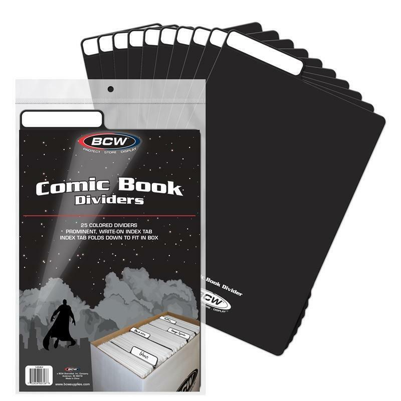 50 BCW COMIC BOOK DIVIDERS - WRITE-ON FOLDABLE TABBED - BLACK PLASTIC 1-CD-BLK
