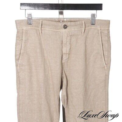 RECENT Incotex Slim Fit Pattern 30 Cotton Linen Taupe Textured Pants Trousers NR