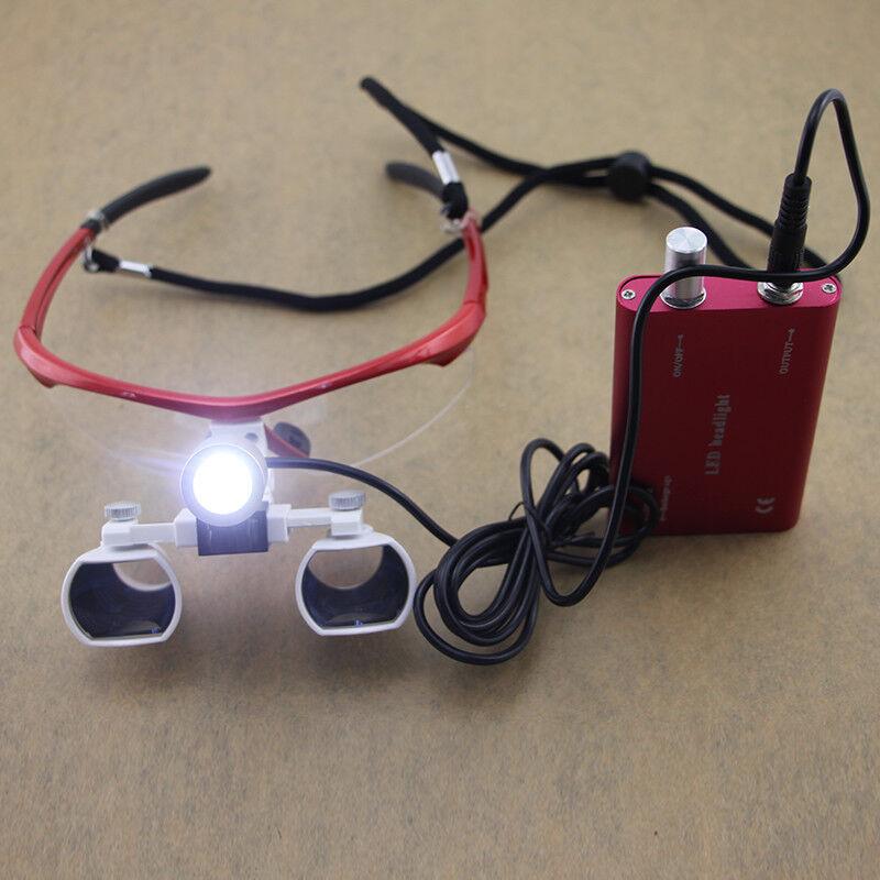 Red Dental Loupes + LED Headlight Medical Binocular Optical 3.5X CV-290