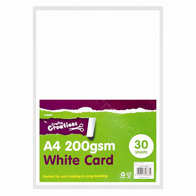 30 Sheets of Thick 200gsm White Card Smooth Scrapbooking Art Craft School Paper