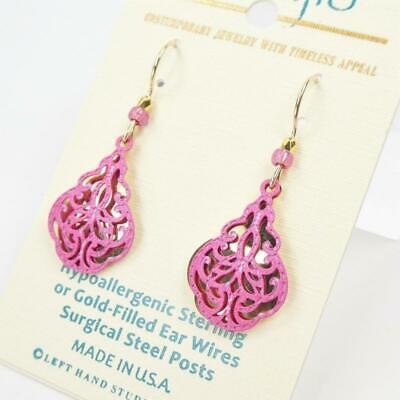 - Adajio Earrings Shiny Gold Plated Teardrop with Pink Swirls Overlay Handmade US