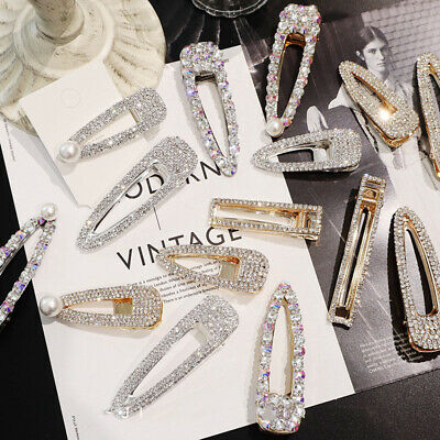 UK Women's Girls Hair Clip Rhinestone Crystal Hairpin Barrette Slide Clips Grip