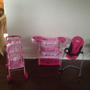 Double stroller , bassinette and high chair