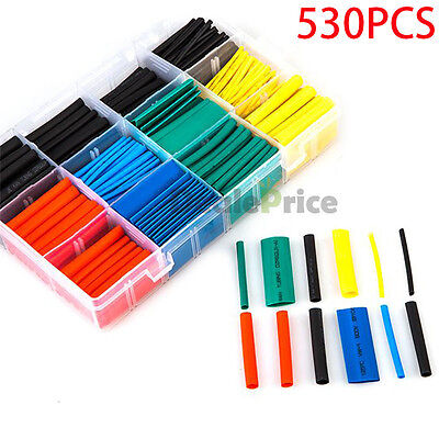 530pcs Set 21 Heat Shrink Tubing Tube Sleeving Flat Wrap Cable Wire Polyolefin