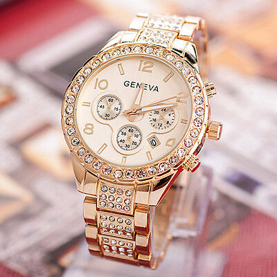$4.69 - Geneva Women Luxury diamond Stainless Steel Crystal Quartz Round Dress Watch