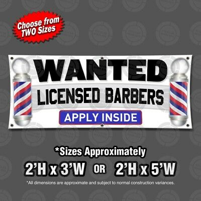 Wanted Licensed Barbers Apply Inside Hiring Banner Sign Display Barber Pole Open