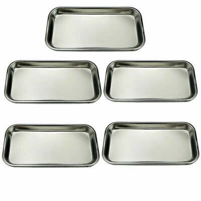 5 Pcs Dental Square Plate Tray Stainless Steel Instrument 22.5122cm Hot Sale