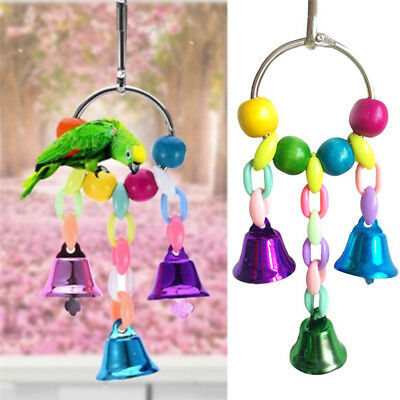 Bird Parrot Hanging Toy Cage Swing Toy with Bell Pet Parakeet Cockatiel Lovebird