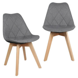 Fabric Kitchen & Dining Chairs with Beech Wood Legs Set of 2