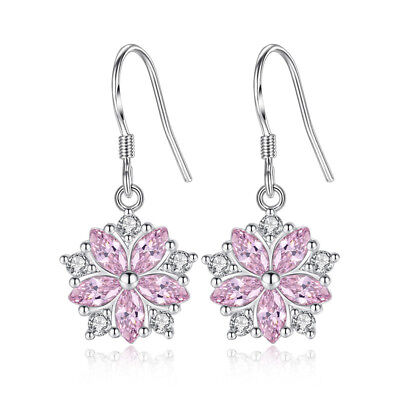 Pink Flower Shape - S925 Sterling Silver Earrings Oval Pink Crystal Flower Shape For Women Jewelry