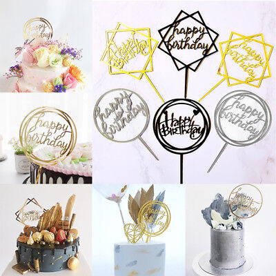 Baking Cupcake Cake Topper Card Happy Birthday Decor Party Supplies Gold Sliver